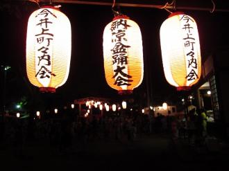 今井神社の盆踊りの提灯