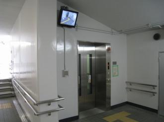 人道地下通路の監視カメラモニター