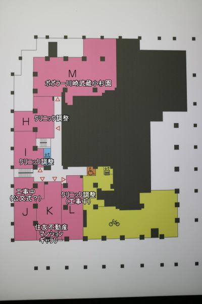 シティタワー武蔵小杉商業施設2階のフロア図