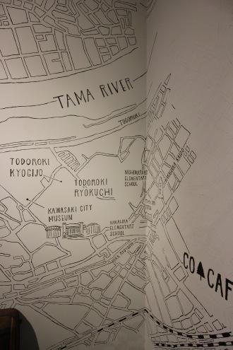 壁面の武蔵小杉周辺マップ