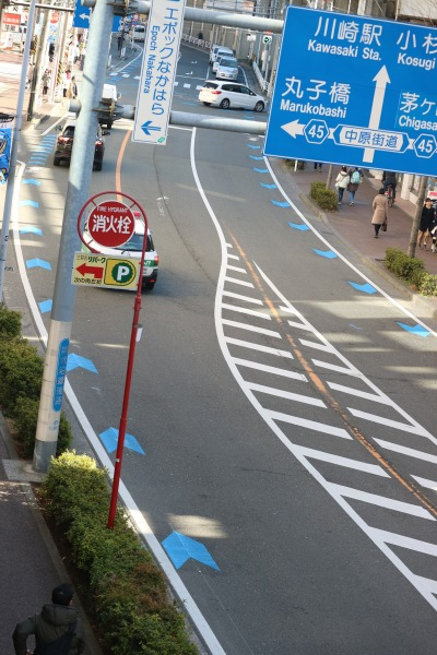 JR武蔵中原駅周辺の自転車ナビマーク