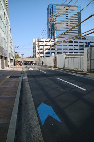 小杉町3丁目東地区前で途切れる自転車ナビマーク