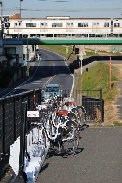 丸子橋そばのサイクルポート