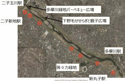 武蔵小杉周辺のサイクルポート(赤)と新設されたサイクルポート(青)