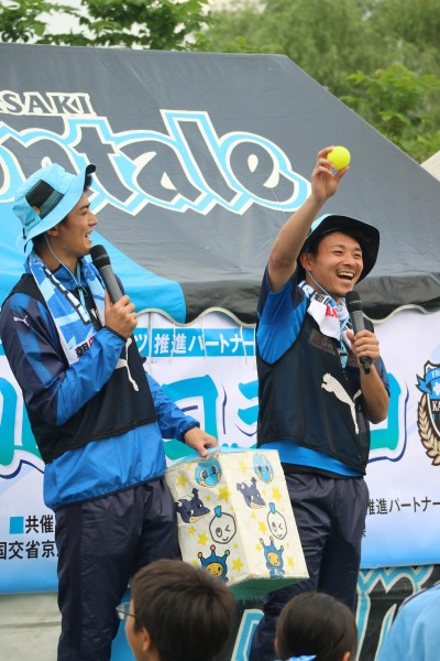 谷口彰悟選手・阿部浩之選手による多摩川クイズ・色当てゲーム