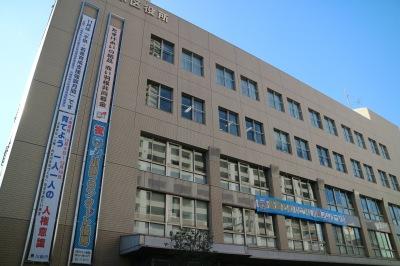 中原区役所の懸垂幕と横断幕