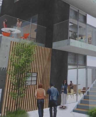 1階入口に描かれた、入居テナントの案内パネル