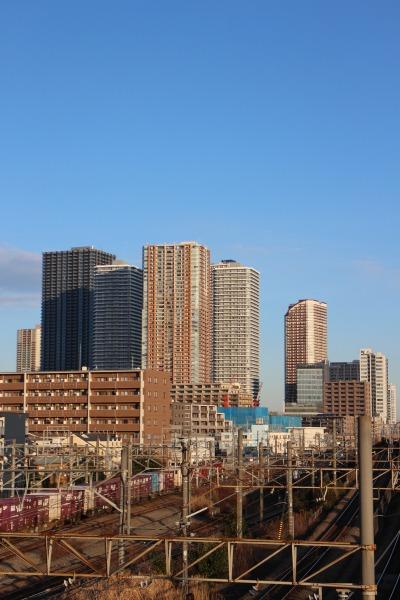 跨線橋から見える武蔵小杉の高層ビル群