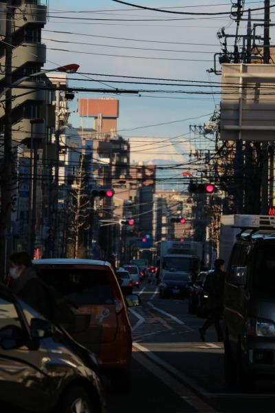 中原街道の地上から見える富士山