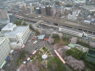 高架化された現在の武蔵中原駅