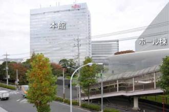 富士通川崎工場ホール棟のフォトモンタージュ
