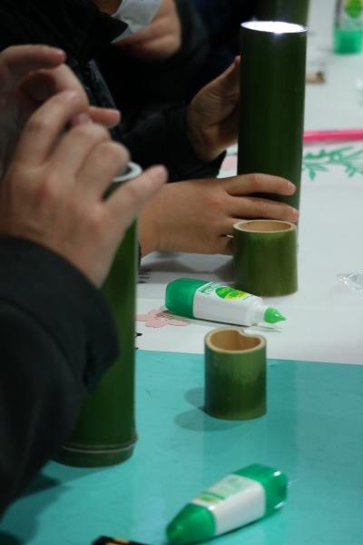 竹細工による万華鏡作り