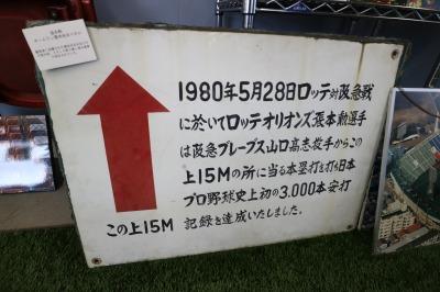 3,000本安打(本塁打)の着弾場所を示していた看板