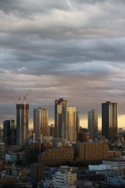 富士通本館20階から見た、夕暮れの武蔵小杉