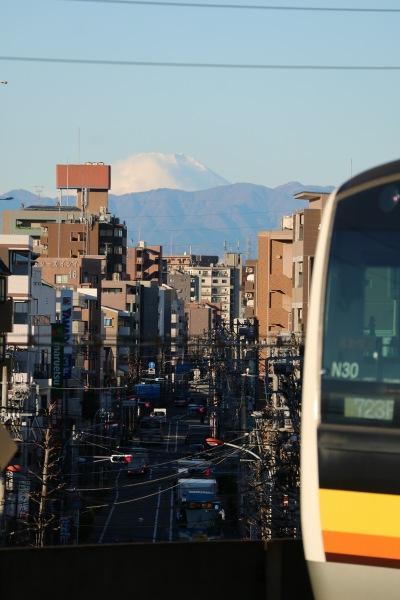 武蔵中原駅から見えた富士山