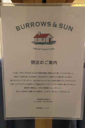 「バロウズアンドサン」閉店のお知らせ