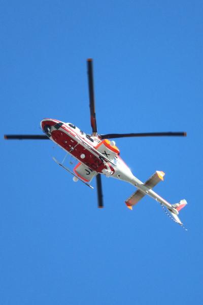 上空のヘリコプター