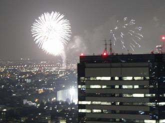 パークシティ武蔵小杉から見た多摩川花火大会(2010年)