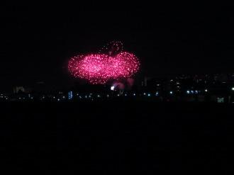 ガス橋から見た六郷土手の花火大会