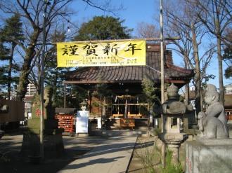 丸子山王日枝神社 謹賀新年(右側手前が神猿)