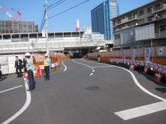 武蔵小杉駅南口地区東街区の切り替えられた道路