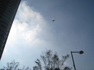 フーディアム前から見た飛行船