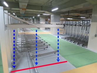 2段式の駐輪設備の昇降方法