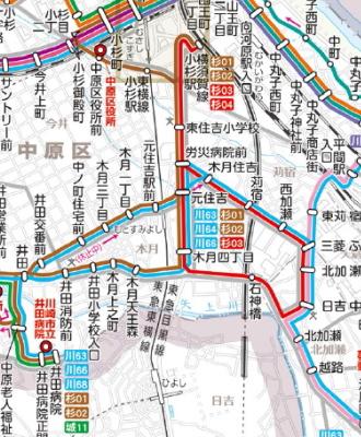 杉02系統(黄土色)と杉03系統(赤)