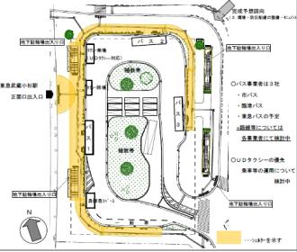 武蔵小杉駅東口駅前広場の平面図