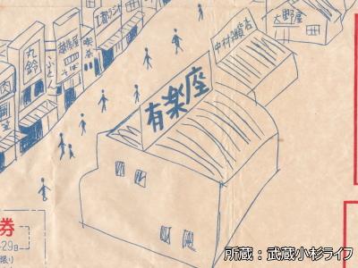 商店街絵図に描かれた映画館「有楽座」