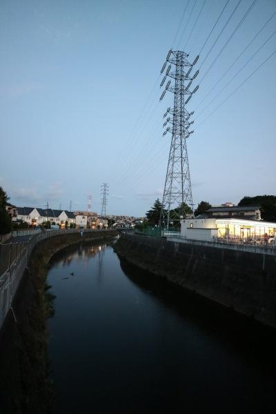 夕暮れの矢上川と送電鉄塔