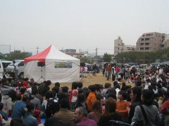 日本医大グラウンドのシンケンジャーショー会場