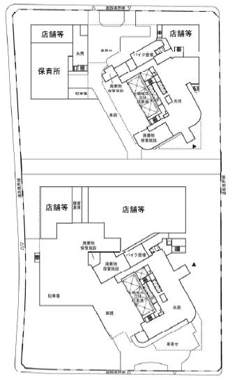 C地区・ツインタワーの1階平面図