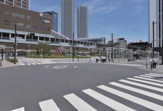 武蔵小杉駅東口駅前広場から見たフォトモンタージュ