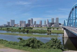 丸子橋の大田区側から見たフォトモンタージュ