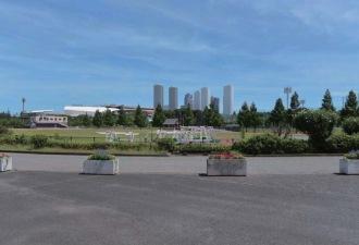 市民ミュージアム前からのフォトモンタージュ