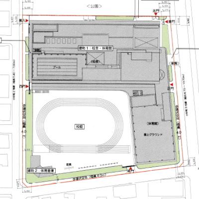 小杉地区新設小学校の平面図