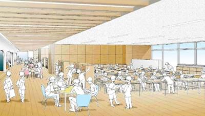 オープンスペースと一体の教室