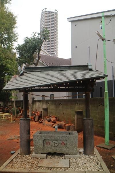 倒木が直撃した手水舎の屋根