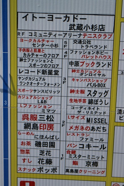 イトーヨーカドー武蔵小杉駅前店の古いフロアガイド
