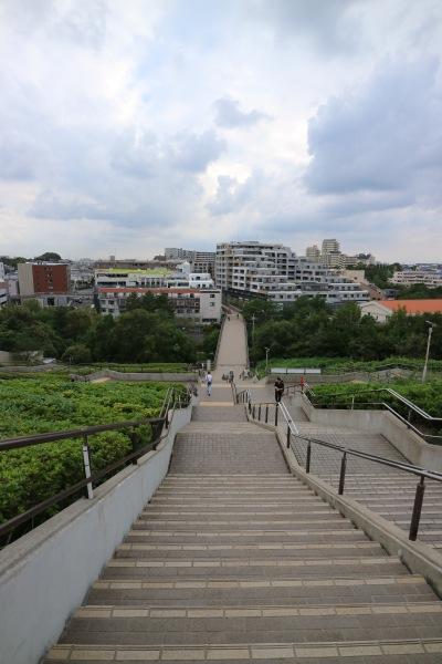高台から北山田駅方面を見下ろす