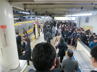 ラッシュ時のJR武蔵小杉駅