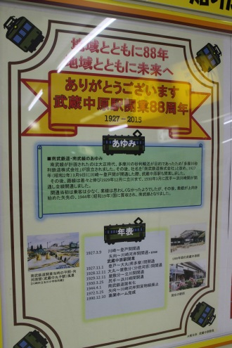 武蔵中原駅開業88周年記念展示