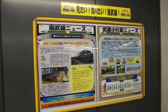 JR武蔵小杉駅南武線ホームの広報スペース