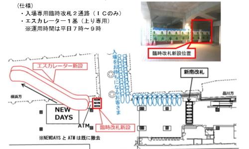 新改札とエスカレーターの設置図