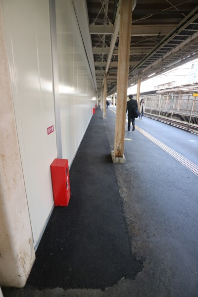 JR武蔵小杉駅南武線下りホームの拡幅部分