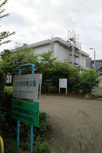 上小田中東公園から見た梶ヶ谷変電所