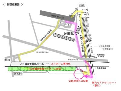 武蔵小杉新駅のホームおよび改札増設図