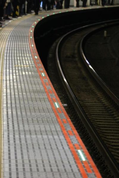 JR武蔵小杉駅横須賀線ホームで点滅する「スレッドライン」