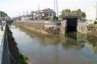 矢上川と江川の合流地点